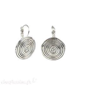 Boucles d'oreilles Ubu oreilles percées métal argenté dormeuses spirales