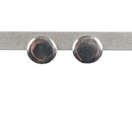 Boucles d'oreilles Ubu oreilles percées métal argenté puces ronds