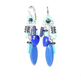 Boucles d'oreilles Patchwork oreilles percées dormeuses bleu