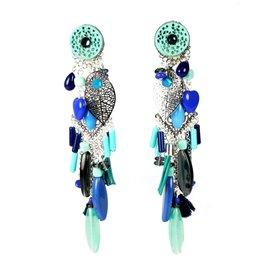 Boucles d'oreilles Patchwork clips bleu et estampes argent