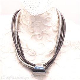 Collier fantaisie créateur b&g métal Argent