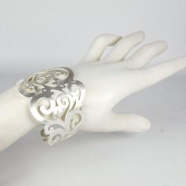 Manchette métal RAS argent petites arabesques