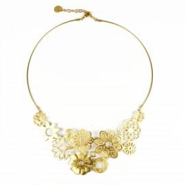 Plastron métal RAS doré fleurs
