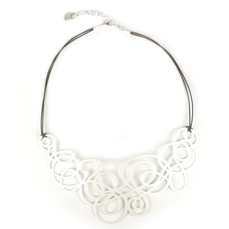 9730940973f Plastron métal collier RAS argent courbes - Achat Vente