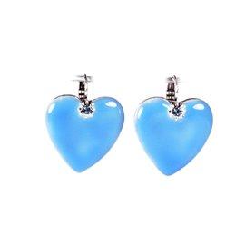 Boucles d'oreilles Statu Quo oreilles percées cœur bleu émaillé