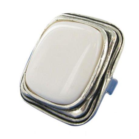 Bague Ubu carré blanc mat et métal argenté réglable