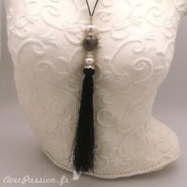 Sautoir fantaisie noir réglable pampille noire