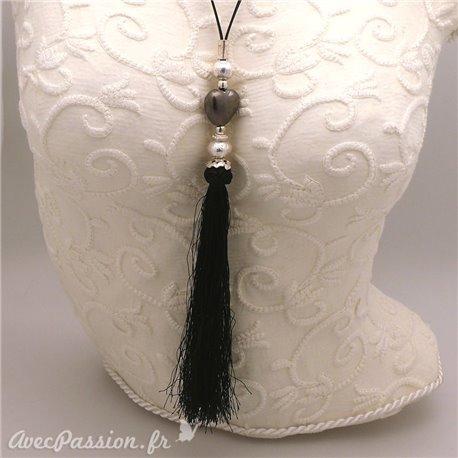 Sautoir fantaisie noir réglable pampille noire -