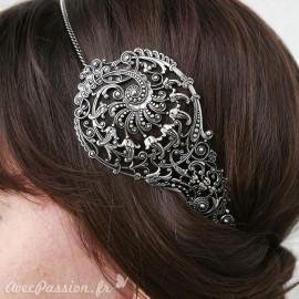 Bijou de tête argenté larme Headband bijou cheveux
