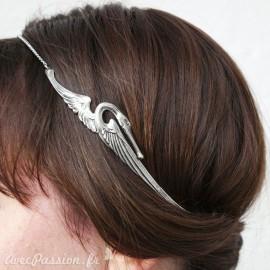 Bijou de tête cygne argenté Headband bijou cheveux
