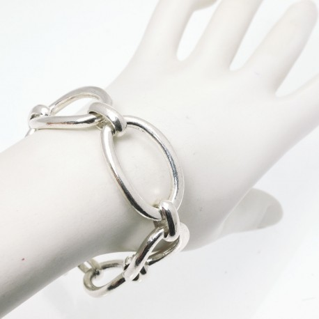 Bracelet fantaisie Ubu mailles ovale argent