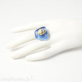Bague fantaisie bleu en verre Nathalie Borderie