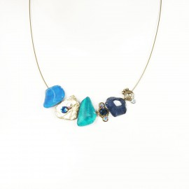 Collier fantaisie ras de cou Nathalie Borderie 3 médaillons bleu 3 tons