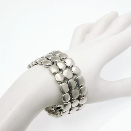 Bracelet fantaisie Ubu argent élastique carrés ronds 3 rangs