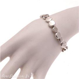 Bracelet fantaisie Ubu argent élastique losanges ronds