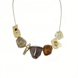 Collier fantaisie marron en verre Nathalie Borderie