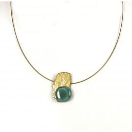 Collier fantaisie ras de cou Nathalie Borderie 1 médaillon vert d'eau