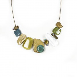 Collier fantaisie multicolore en verre Nathalie Borderie