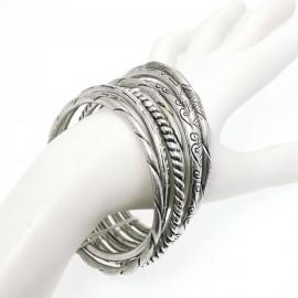 Bracelet fantaisie Ubu semainier ciselé métal argenté