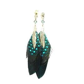 Boucles d'oreilles pendantes Hippie Chic plume bleu Charlotte & Alexandre