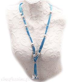 Sautoir fantaisie créateur b&g métal Argent bleu