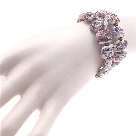 Bracelet fantaisie Kazuri céramique blanc bleu rouge