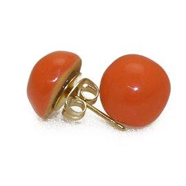 Boucles d'oreilles Kazuri céramique orange puce ronde 1cm