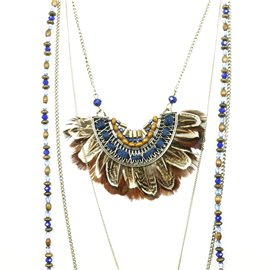 Collier sautoir Hippie Chic multirang plume marron et perles bleu Charlotte & Alexandre