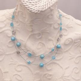 Collier fantaisie bleu multi rangs -