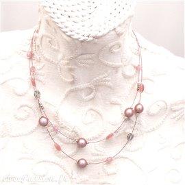 Collier fantaisie rose