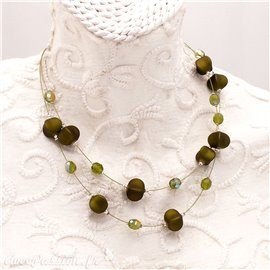 Collier fantaisie vert olive multi rangs cablés -