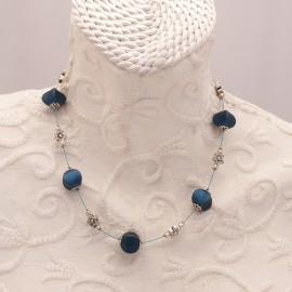 Collier fantaisie bleu nuit -