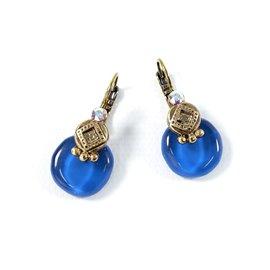 Boucles d'oreilles bleu oreilles percées Nathalie Borderie
