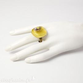 Bague fantaisie jaune en verre Nathalie Borderie