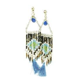 Boucles d'oreilles pendantes Hippie Chic perles marron Charlotte & Alexandre