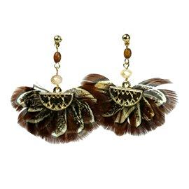Boucles d'oreilles pendantes Hippie Chic plume marron ovale Charlotte & Alexandre