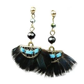 Boucles d'oreilles pendantes Hippie Chic plume bleue nuit ovale Charlotte & Alexandre
