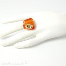 Bague fantaisie orange en verre Nathalie Borderie