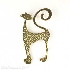Broche Dolce Vita dorée chat