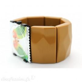 Bracelet élastique de montre Stamps belta moutarde sculpté -1221032