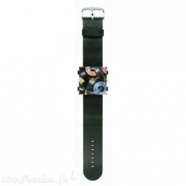 Bracelet de montre Stamps noir long structuré jack