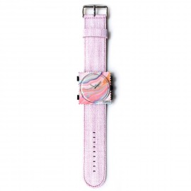 Montre Stamps bracelet de montre denim rose
