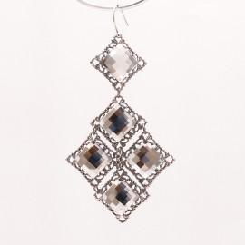 Boucles d'oreilles pendantes percées cristal métal argent Kenny Ma