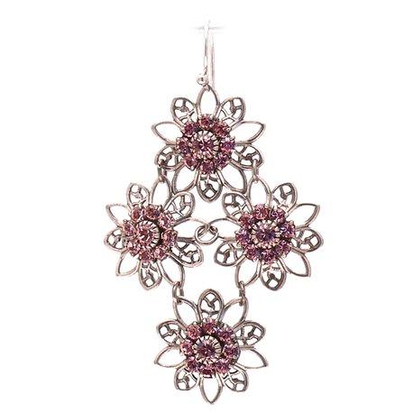 Boucles d'oreilles pendantes percées rose strass Swaro Kenny Ma