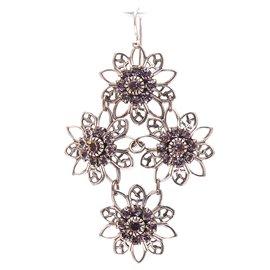 Boucles d'oreilles pendantes percées violet améthyste cristal Kenny Ma