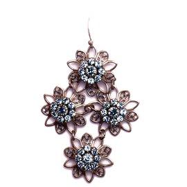 Boucles d'oreilles pendantes percées bleu azur et cristal Kenny Ma