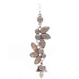 Boucles d'oreilles pendantes percées cristal opaque argent Kenny Ma
