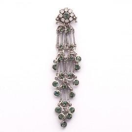Boucles d'oreilles pendantes percées vert strass Swaro Kenny Ma