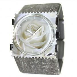 Bracelet élastique de montre Stamps belta argenté structuré