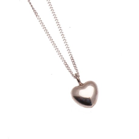 Collier fantaisie chaine et pendentif coeur en argent 925 -